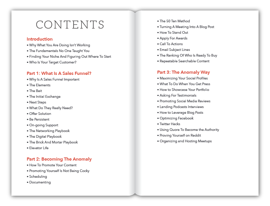 Anomaly Table of Contents